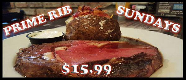 Prime Rib Sunday's for $15.99